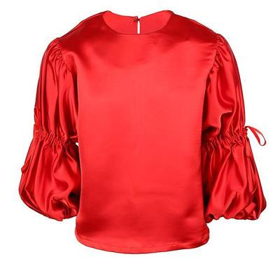 GIRLS PUFF SLEEVES CREPE BLOUSE - RED