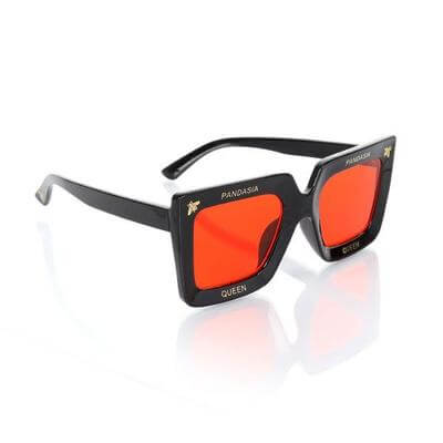 GIRLS BLACK AND RED SUNGLASSES WITH SQUARE FRAME