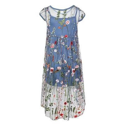 EMBROIDERED HIGH LOW DRESS - BLUE