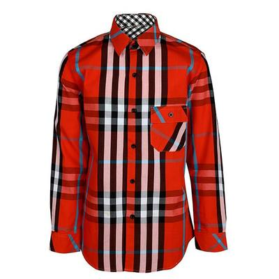 BOYS LONG SLEEVE PLAID SHIRT - ORANGE