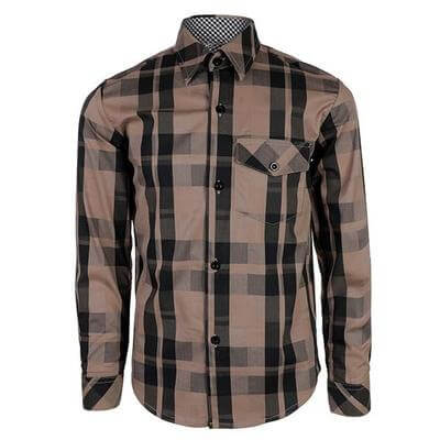 BOYS LONG SLEEVE PLAID SHIRT - BROWN