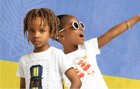girl and boy in summer tee shirt and sunglasses