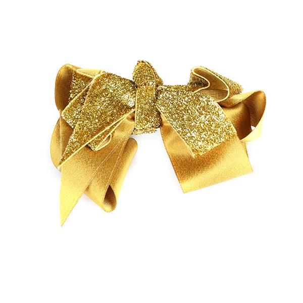 GOLD SHINY DOUBLE CLIP BOW - ruffntumblekids