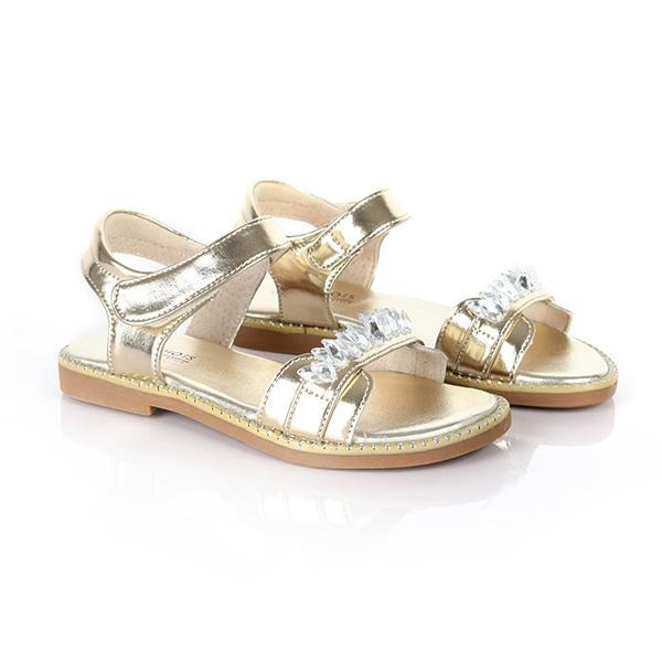GOLD STONE DESIGNED SANDALS - ruffntumblekids