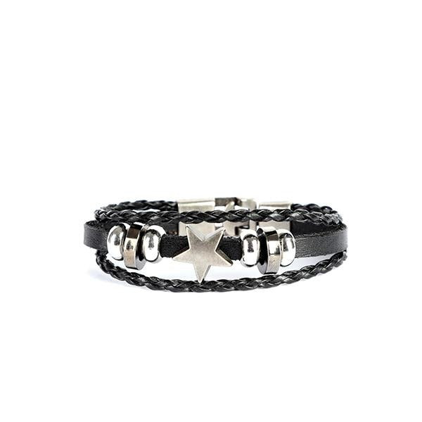 BLACK ROUND LEATHER BRACELET