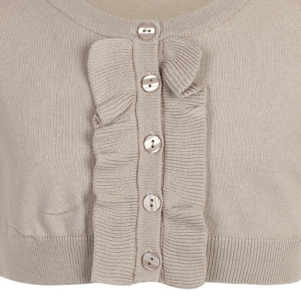 BABY GIRLS BEIGE  RUFFLED SHORT SLEEVED BUTTON UP BOLERO - ruffntumblekids