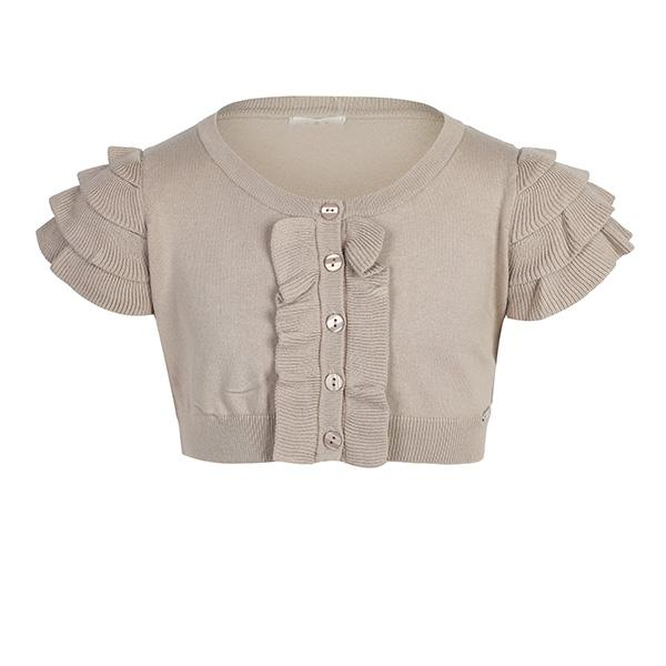 BABY GIRLS BEIGE  RUFFLED SHORT SLEEVED BUTTON UP BOLERO
