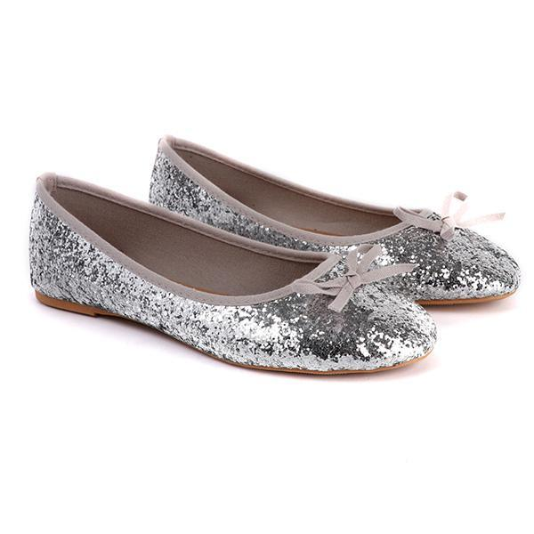 Silver Sequin Ballerina Flats With Bow