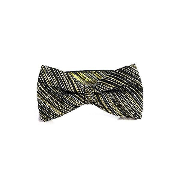 BOYS GOLD/BLACK BOW-TIE AND POCKET SQUARE - ruffntumblekids