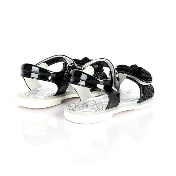BLACK VELCRO SANDALS WITH BOW