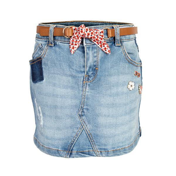 GIRLS DENIM BLUE SHORT SKIRT - ruffntumblekids