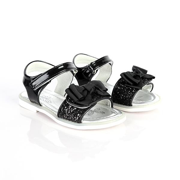 BABY GIRLS BLACK VELCRO SANDALS WITH BOW - ruffntumblekids