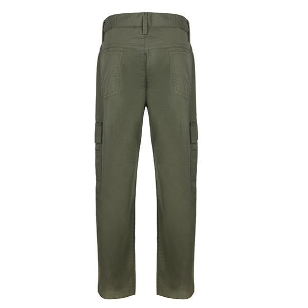 BOYS 6 POCKET ARMY GREEN BASIC CHINOS TROUSER