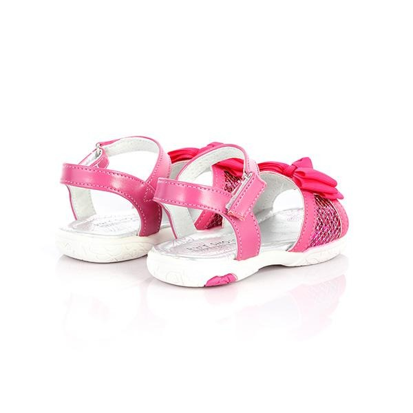 GIRLS FUCHSIA VELCRO BOW SANDALS - ruffntumblekids