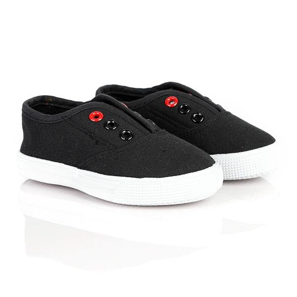 BIG GIRLS BLACK LACE-LESS SNEAKERS - ruffntumblekids