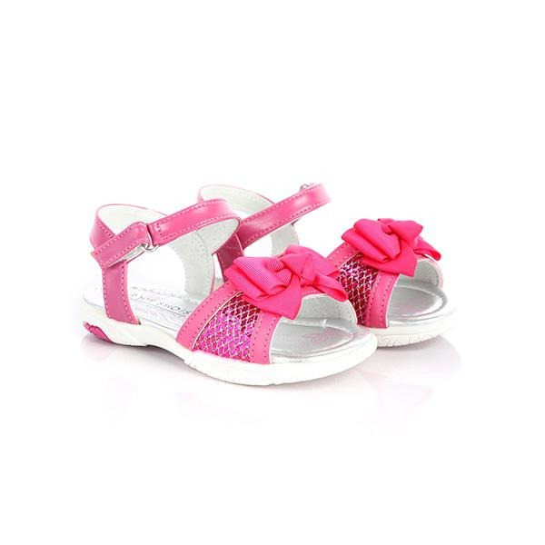 Girls fuchsia velcro sandals with bow_ruffntumblekids