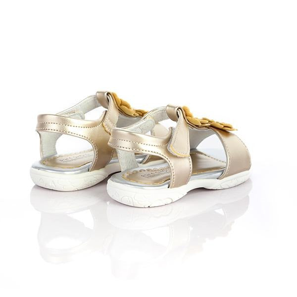 GOLD VELCRO FLOWER SANDALS