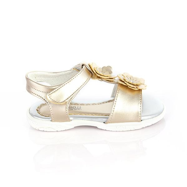 GOLD VELCRO FLOWER SANDALS - ruffntumblekids