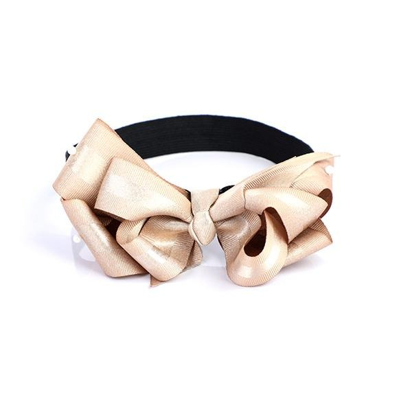 GOLD DOUBLE BOW ELASTIC BAND - ruffntumblekids