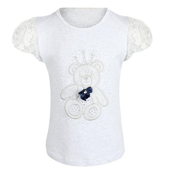 GIRLS LIGHT GREY TEDDY BEAR  T-SHIRT - ruffntumblekids