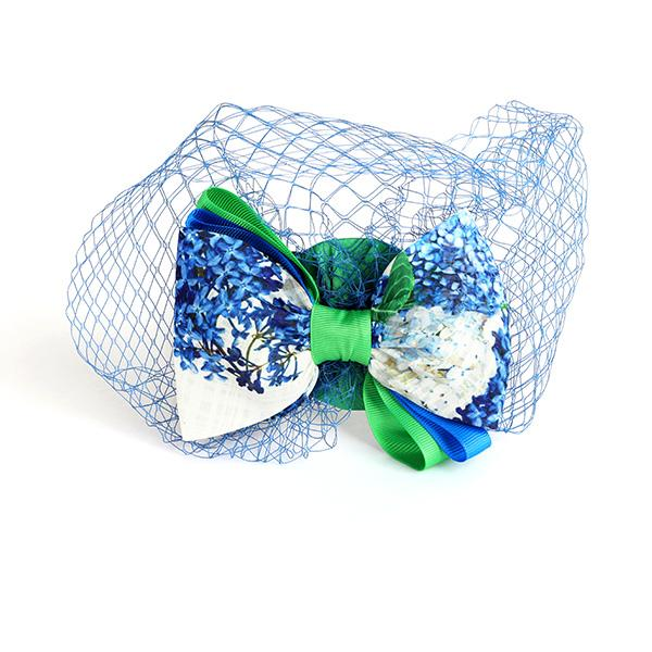 BLUE AND GREEN FLORAL FASCINATOR