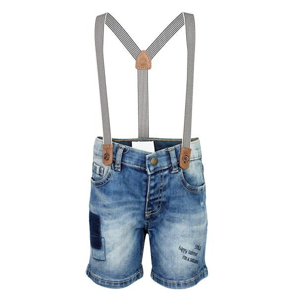 BLUE DENIM SHORT WITH SUSPENDERS