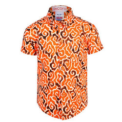 orange ankara short sleeve shirt-ruffntumble