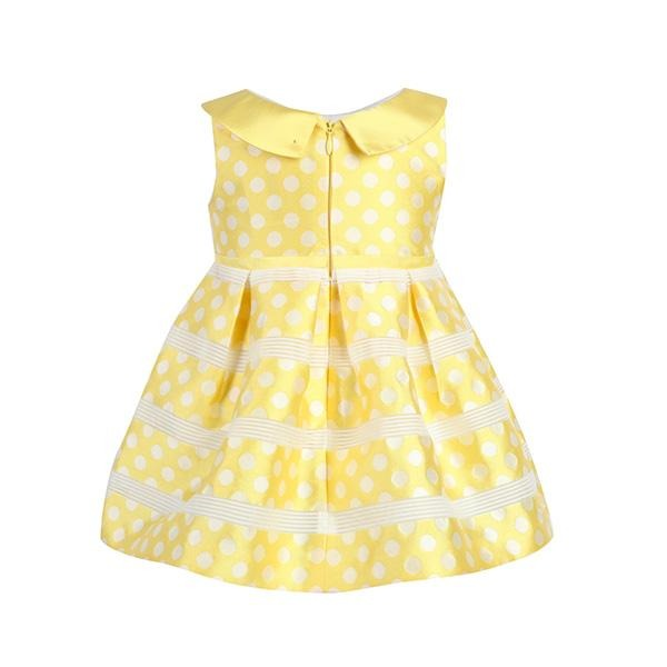 GIRLS YELLOW POLKA DOT SKATER DRESS