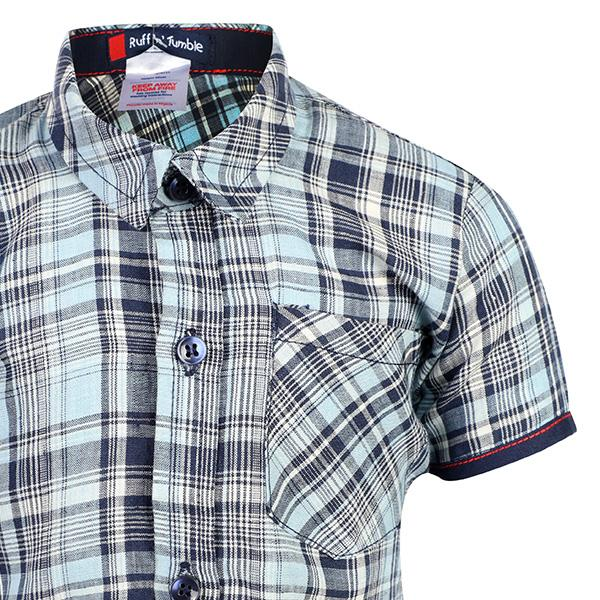 BOYS BLUE PLAID SHIRT - ruffntumblekids