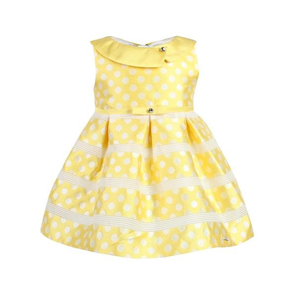 GIRLS YELLOW POLKA DOT SKATER DRESS - ruffntumblekids