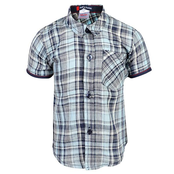 blue plaid short sleeve shirt-ruffntumble
