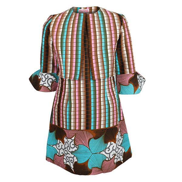 GIRLS MULTI ANKARA DRESS SET - ruffntumblekids