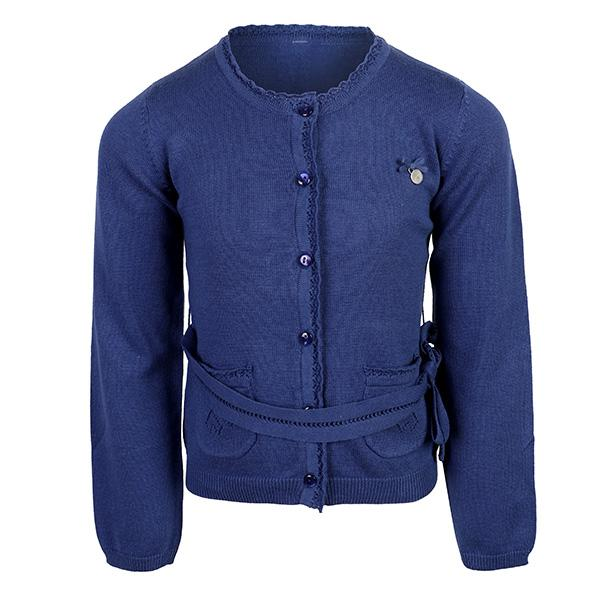 NAVY BLUE KNITTED BELT CARDIGAN