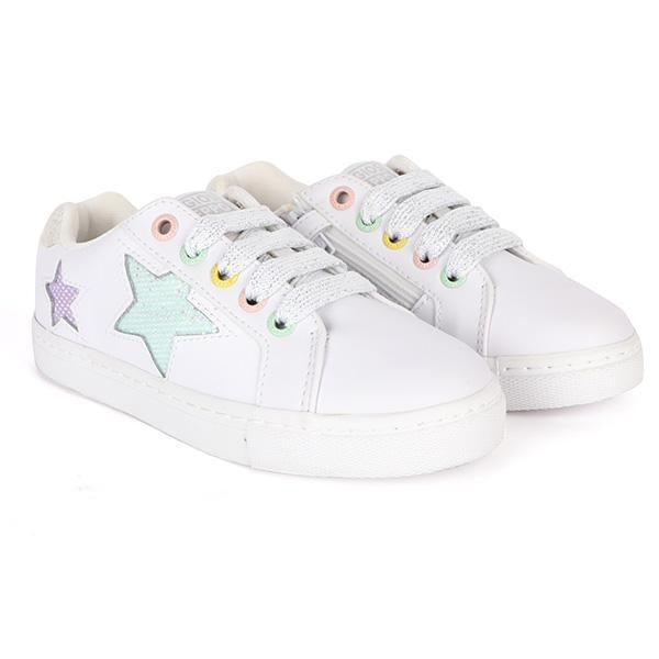 GIRLS WHITE STAR EMBROIDERED SNEAKERS