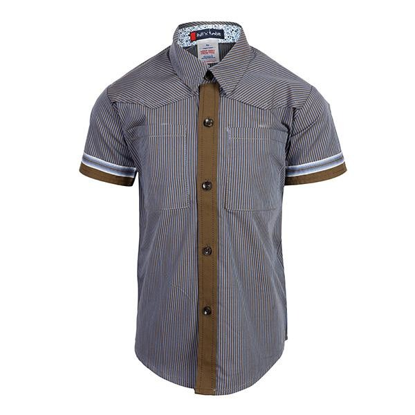 blue/taupe striped short sleeve shirt-ruffntumble