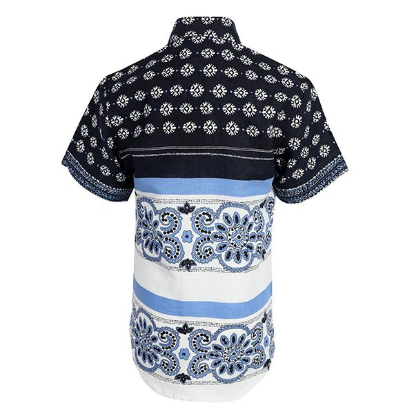 BOYS NAVY BLUE MIXED PRINT SHIRT - ruffntumblekids