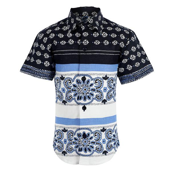 navy blue print shirt-ruffntumble
