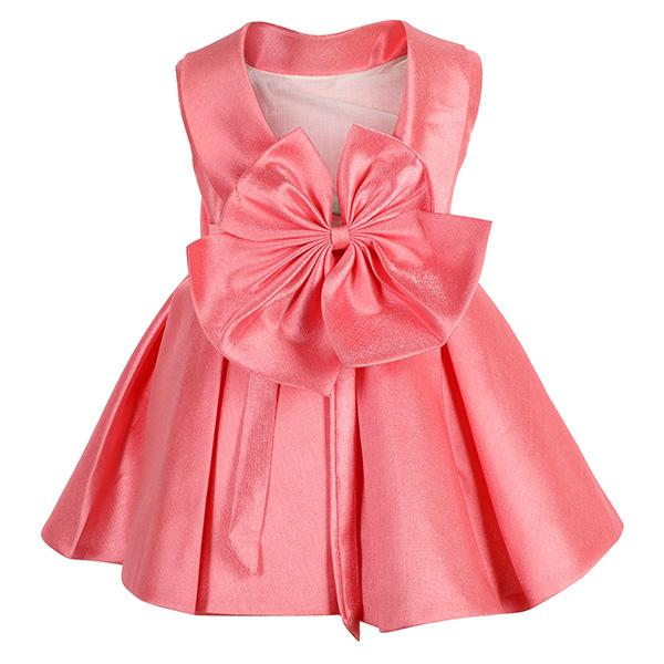 GIRLS PEACH BIG BOW FIT&FLARE DRESS - ruffntumblekids