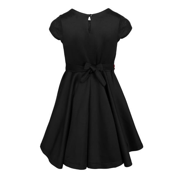 BIG GIRLS BLACK SCUBA WAISTLINE DRESS - ruffntumblekids