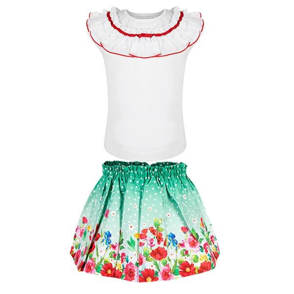 GIRLS GREEN TOP AND SKIRT SET