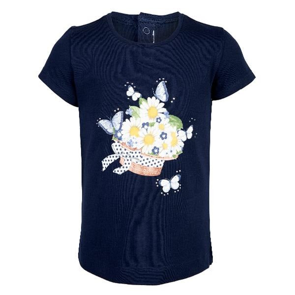 GIRLS NAVY FLOWER PRINT TEE - ruffntumblekids