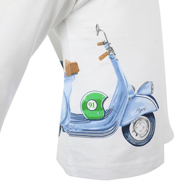 BABY BOYS WHITE LONG SLEEVE VESPA T-SHIRT - ruffntumblekids