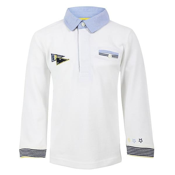 BABY BOYS WHITE LONG SLEEVE GRANITE POLO - ruffntumblekids