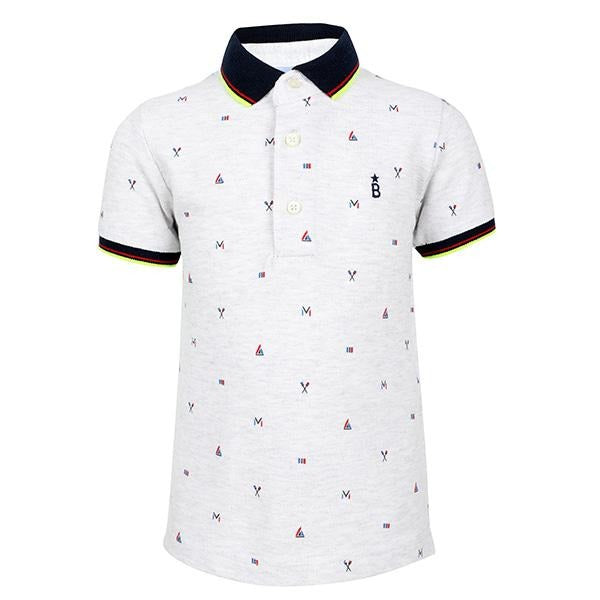 BOYS WHITE SHORT SLEEVE SMALL PRINTS POLO - ruffntumblekids