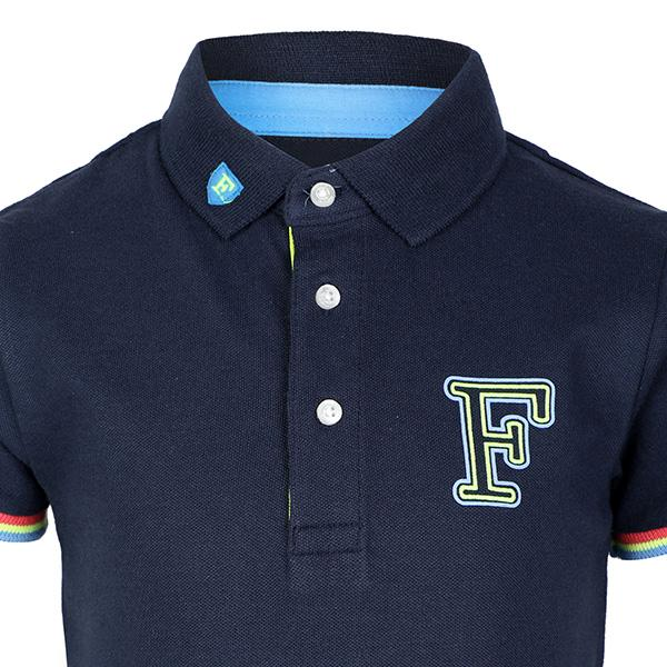 BOYS NAVY SHORT SLEEVE PRINT NECK POLO - ruffntumblekids
