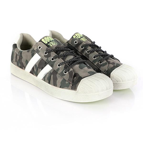 BOYS GREEN PRINT LACE UP SNEAKERS