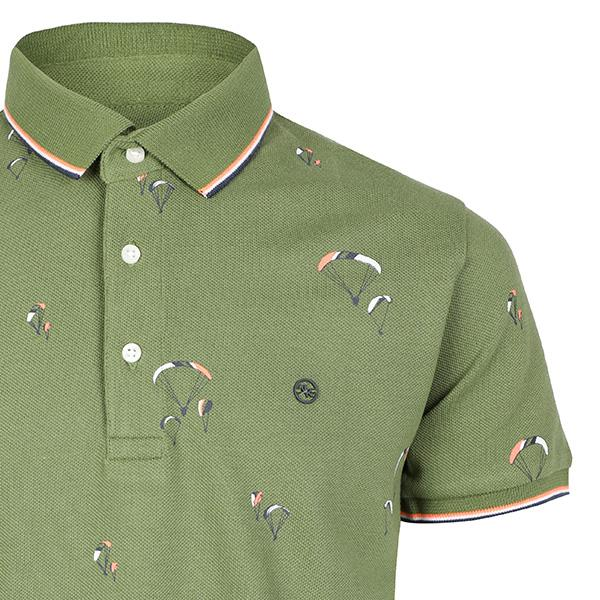 BOYS GREEN SHORT SLEEVES PRINT POLO T-SHIRT - ruffntumblekids