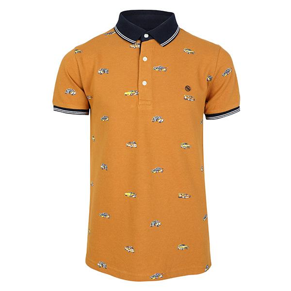 BOYS ORANGE SHORT SLEEVES PRINT POLO T-SHIRT - ruffntumblekids