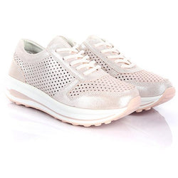 GIRLS PINK LACE UP SNEAKERS
