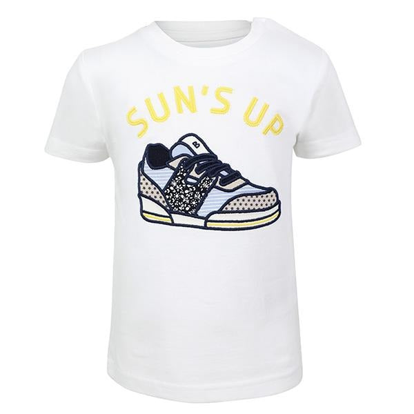 BOYS WHITE SHORT SLEEVES SNEAKER APPLIQUE TEE - ruffntumblekids
